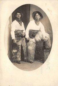 RPPC COWBOYS Guns, Chaps, Lasso Studio Photo Western c1910s Vintage Postcard