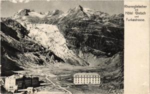 CPA AK Rhonegletscher mit Hotel Gletsch und Furkastrasse SWITZERLAND (704896)