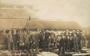 Ashtabula OH~Workers of Ideal Hoop Co~Michigan Central RR Boxcar~RPPC c1910