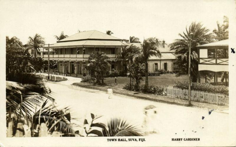 fiji islands, SUVA, Town Hall (1930s) Harry Gardiner The Rose RPPC