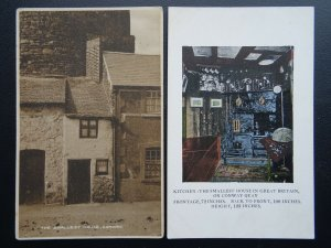 Wales Conway Quay 2 x THE SMALLEST HOUSE IN BRITAIN - Old Postcards