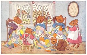 Margaret Tempest~Patchwork Quilt~Fantasy Dressed Mice Sewing Bee~Medici