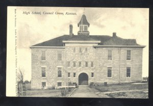 COUNCIL GROVE KANSAS HIGH SCHOOL BUILDING VINTAGE POSTCARD 1908