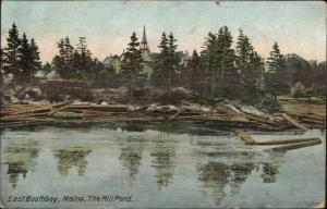 East Boothbay ME The Mill Pond Logging c1910 Postcard