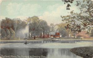 Portland Maine~Lake Fountain @ Deering Oaks Park~Pavilion/Building~c1910 PC