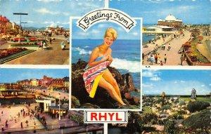 Vintage 1963 Bamforth Wales Multi View Postcard, Greetings from Rhyl AY7