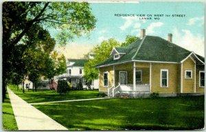 Lamar, Missouri Postcard Residence View on West 1st Street Houses 1918 Cancel