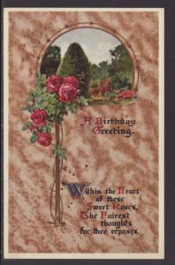 A Birthday Greeting,Roses,Scene Postcard