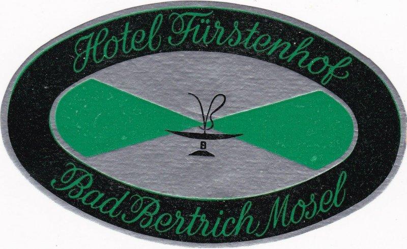 Germany Bad Bertrich Hotel Fuerstenhof Vintage Luggage Label sk3217