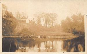 New Sharon ME River Scene in 1916 RPPC Postcard