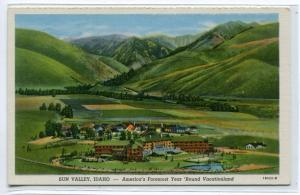 Sun Valley Idaho Panorama issued by Union Pacific Railroad linen postcard