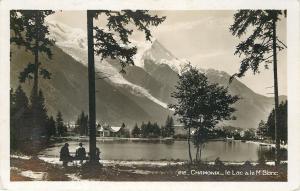Chamonix France~Le Lac & Mt Blanc~Lake~Snowcapped Mountain~Cottages~1950s RPPC