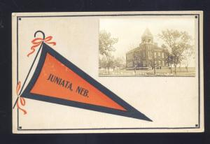 RPPC JUNIATA NEBRASKA HIGH SCHOOL ORANGE PENNANT OLD REAL PHOTO POSTCARD