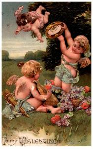 Easter , Cupids playing Mandolin, tamboreen