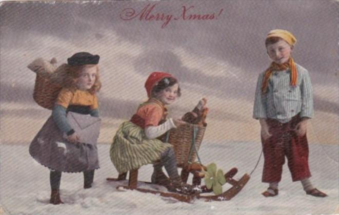 Christmas Children With Sleigh In Snow