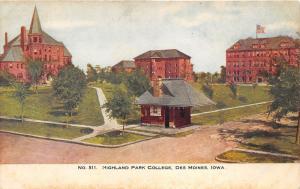 Des Moines Iowa~Highland Park College Campus~Booth @ Entrance~Buildings~c1905 Pc