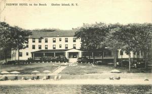 Albertype Beach 1940 Pridewin Hotel Postcard Shelter Island New York 4530
