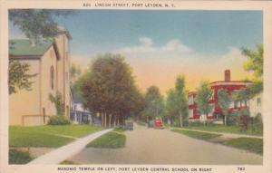 Lincoln Street, Port Leyden, Masonic Temple, Central School, New York, PU-1944