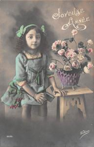 New Year Joyeuse Annee flowers basket girl 1912