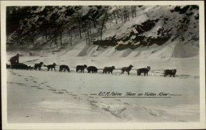 RCMP Royal Canadian Mounted Police Sled Dog Husky Team Yukon River RPPC