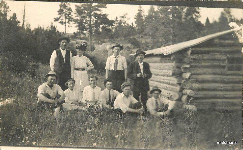 c-1910 Rural life Log Cabin Group Photo Family RPPC postcard 16-141