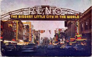 postcard NV Reno night scene - The Biggest Little City in the World