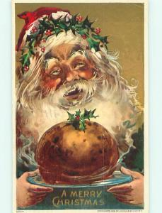 1908 christmas SANTA SERVING FOOD ON A PLATE r5115