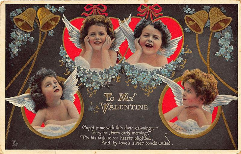 Valentines Day Hearts and Rings Rapholette Tuck #150 Postcard 2