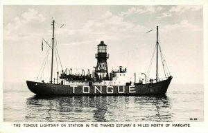 Vintage RP Postcard The Tongue Lightship River Thames Estuary Margate AC6