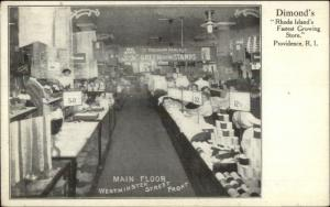 Providence RI Dimond's Store Interior Green Trading Stamps Sign c1910 Postcard