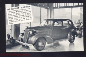 1937 CHEVROLET SEDAN MENARD TEXAS LUCKENBACK CAR DEALER ADVERTISING POSTCARD