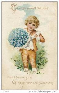 Boy with Flowers, Wish You The Best Life Can Give, Greeting, PU-1909