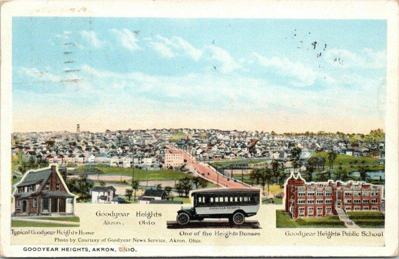 Akron Ohio~Goodyear Heights Home-Bus-School~Birdseye View of Neighborhood~1921