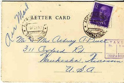 Cunard RMS Mauretania Letter Card Posted in Canary Islands 1