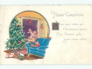 Pre-Linen christmas KIDS FIND GIFTS LEFT BY SANTA k1870