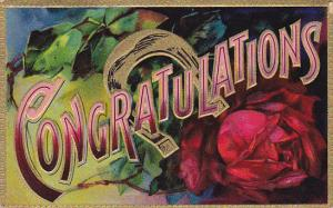 Congratulations Red Rose and Horseshoe 1909 Embossed