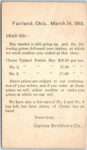 1912 Fairland, Oklahoma Postcard GAINES BROTHERS CO. Hay Market Prices w Cancel