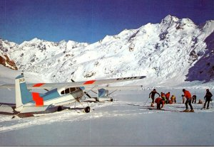 New Zealand Mt Cook National Park Tasman Glacier Mt Cook Ski Planes and Skiers