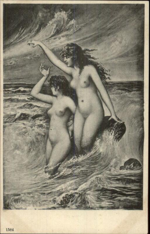 Nude Women in the Waves c1910 Postcard