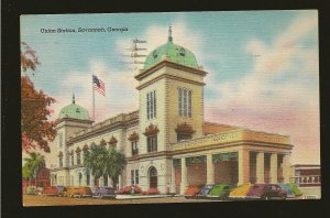 USA Postmark 1946 Savannah GA Union Station Savanna Linen Postcard