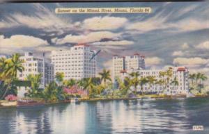 Florida Miami Sunset On The Miami River 1951