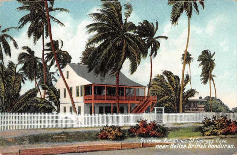 Belize British Honduras St Georges Caye Summer Residence Antique Postcard J79467