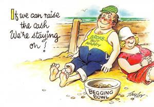 Bamforth Postcard Comic Joke Funny Were Staying On, Begging Bowl S10 #481