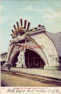 pre-1907 DREAMLAND ENTRANCE, CONEY ISLAND, N. Y. 1906 glitter card