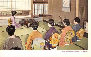 Hostess & Guests At Tea Ceremony, Chanoyu, Japan 茶の湯 ca 1920s Vintage Postcard