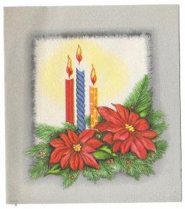 VINTAGE 1940s WWII ERA Christmas Greeting Card Art Deco Poinsettia & Candles