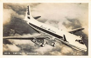 Capital Airlines Viscount in Flight #40-A Photo By Enell, Real Photo Postcard