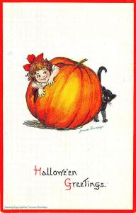Halloween Embossed Frances Brundage Giant J-O-L Black Cat #123 Postcard