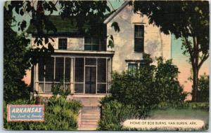 Van Buren, Arkansas Postcard HOME OF BOB BURNS House MWM Linen c1940s Unused