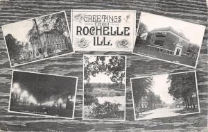 Rochelle Illinois~ 5 Mini Views~Street Scenes~Schools~Bridge~1918 CR Childs B&W